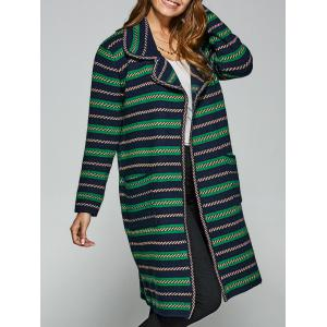 Pockets Jacquard Long Cardigan - Green - One Size