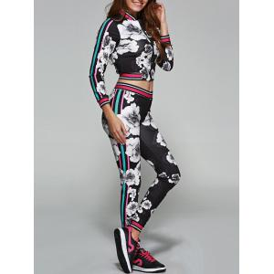 Flower Pattern Cropped Sports Suit