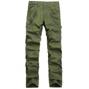 Zipper Pocket Straight Leg Stitching Cargo Pants