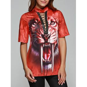Tiger Print Front Lace Up Halloween T-Shirt - Orange Red - S