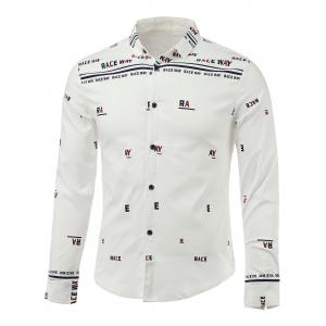 Letters Print Turn-Down Collar Long Sleeve Shirt