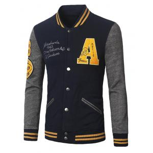 Patch Design Varsity Striped Insert Baseball Jacket