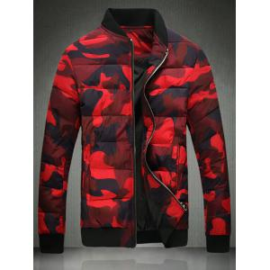 Stand Collar Zip Up Camo Quilted Jacket - Red - Xl
