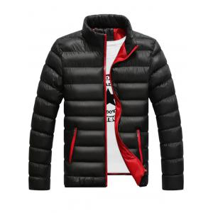 Stand Collar Contrast Zipper Quilted Jacket - Black - L