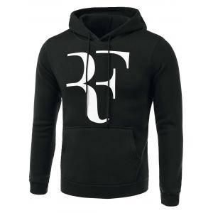 Abstract Letter Print Long Sleeve Hoodie