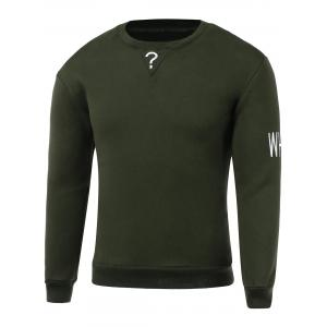 Letters Embroidery Round Neck Long Sleeve Sweatshirt - Army Green - 2xl