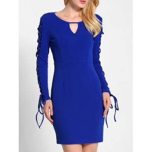Lace Up Long Sleeve Bodycon Dress - Blue - M