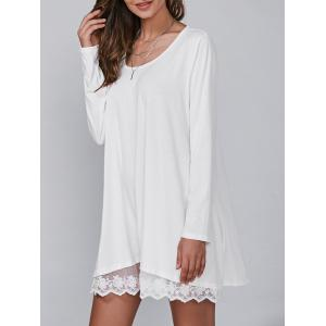 Casual Lacy Long Sleeve Tunic T Shirt Dress - White - M