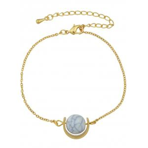 Gold Plated Faux Turquoise Horseshoe Bracelet - Golden