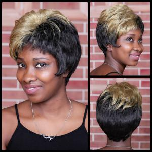 Short Full Bang Fluffy Straight Mixcolor Synthetic Wig - Colormix