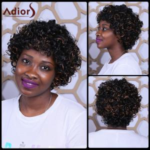 Short Full Bang Fluffy Afro Curly Mixcolor Synthetic Wig - Colormix