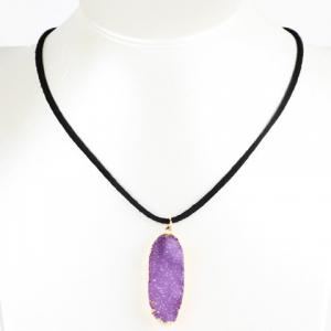 Oval Natural Stone Necklace - Purple