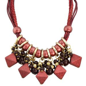 Faux Leather Braid Geometric Beads Necklace - Red - 2xl