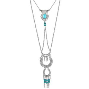Layered Faux Turquoise Geometric Necklace