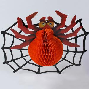 Creative Spider Paper Lantern Halloween Supply Party Decoration - Orange - Bag + Label + Clip