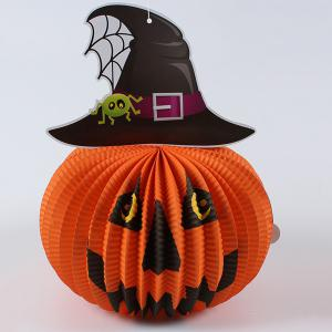 Halloween Party Supply Paper Pumpkin Hanging Lantern Decoration