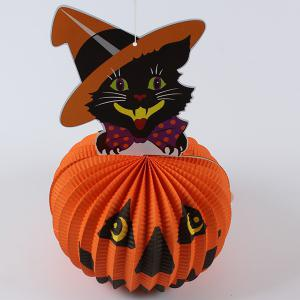Pumpkin Cat Design Paper Lantern Halloween Party Decoration Supply - Orange - 31