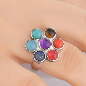 Multicolored Beads Floral Ring