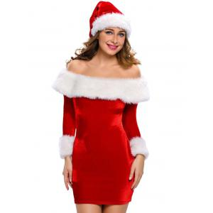 Christmas Faux Fur Fitted Velvet Dress With Hat - Red - S