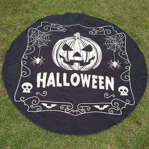 Festival Halloween Pumpkin Skull Spider Print Polyster Round Beach Throw