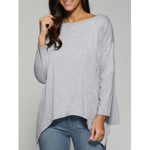 Autumn Asymmetric Drop Shoulder T-Shirt