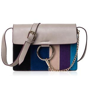 Metal Ring Striped Pattern Chain Crossbody Bag
