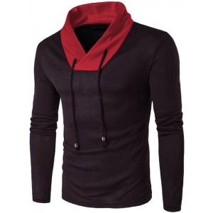 Stand Collar Color Block Knitted T-Shirt - Black - Xl
