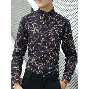 All-Over Key Print Faux Pocket Shirt