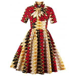 Bowknot Geometric Print Vintage Dress