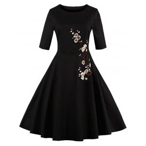 Floral Embroidered Semi Formal Skater Dress