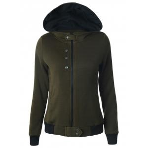 Buttoned Hooded Cottony Jacket - Army Green - S