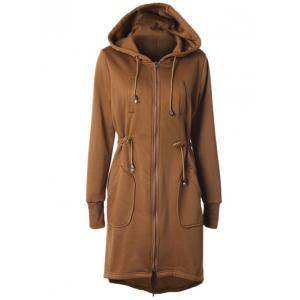 Drawstring Back Zipped Hooded Coat