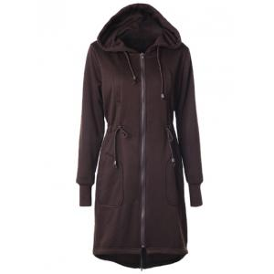 Drawstring Back Zipped Hooded Coat - Coffee - M