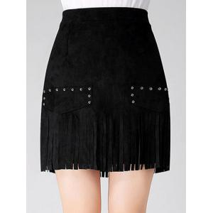 Stud Embellished Suede Fringed Skirt - Black - S
