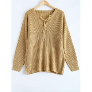 Lace Up Pullover Plus Size Sweater - Khaki - 4xl
