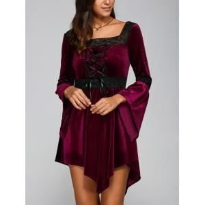 Lace Spliced Lace-Up Handkerchief Dress