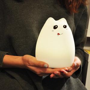 Cat Cartoon LED Touching Colorful Ombre Night Light - White