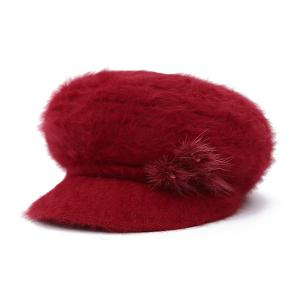Faux Fur Flowers Knitted Angora Beret Hat - Red