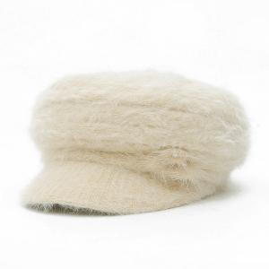 Faux Fur Flowers Knitted Angora Beret Hat - Off-white