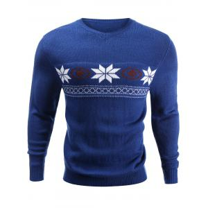 V-Neck Snowflake Sweater