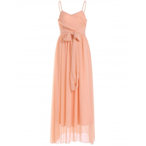 Lace Up Spaghetti Strap Chiffon Maxi Bridesmaid Dress