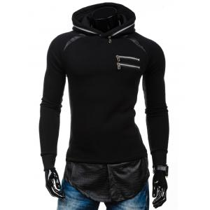 Zipper Embelllished PU Spliced Faux Twinset Hoodie