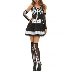 Halloween Skeleton Layered Cami Dress Costume - Black - S