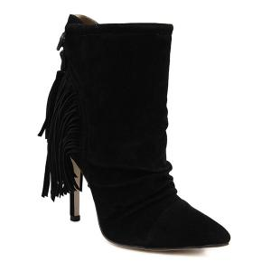 Ruched Suede Tassels Fringe Ankle Boots