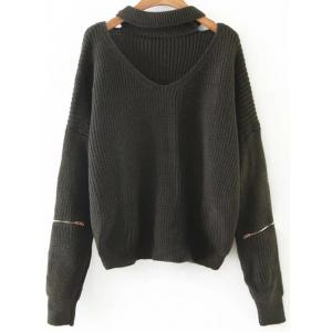 Cut Out Zipper Sleeve Choker Sweater - Blackish Green - One Size