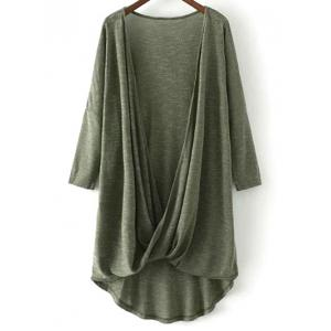 Low Cut Long Sleeve Surplice T-Shirt - Army Green - L