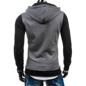 Slim Fit Side Half Zip Two Tone Hoodie - LIGHT GRAY 2XL