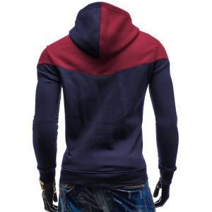 Kangaroo Pocket Color Block Hoodie - CADETBLUE 2XL