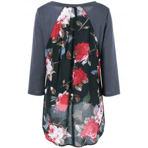 Plus Size Floral High Low Blouse - GRAY 5XL