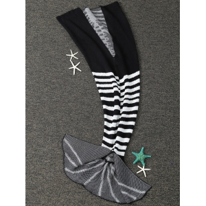 Super Soft Knitted Fishbone Kids Wrap Halloween Mermaid Blanket and Throws - WHITE AND BLACK